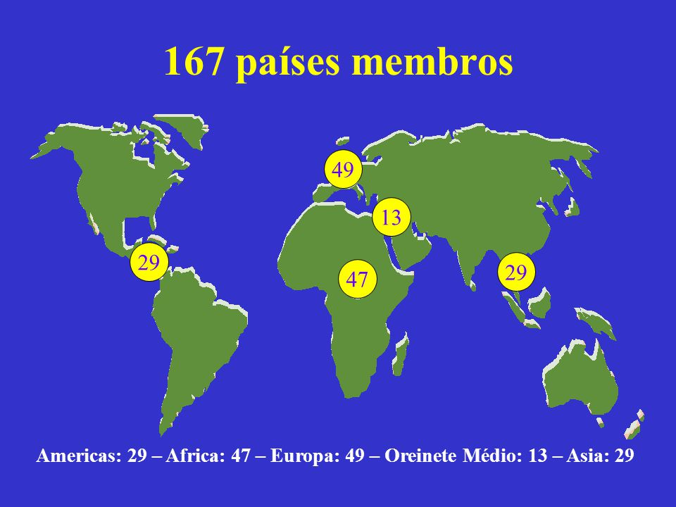 Americas: 29 – Africa: 47 – Europa: 49 – Oreinete Médio: 13 – Asia: 29