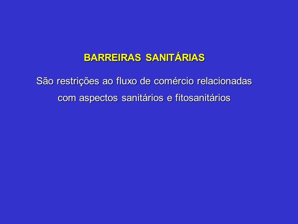 BARREIRAS SANITÁRIAS São restrições ao fluxo de comércio relacionadas com aspectos sanitários e fitosanitários.