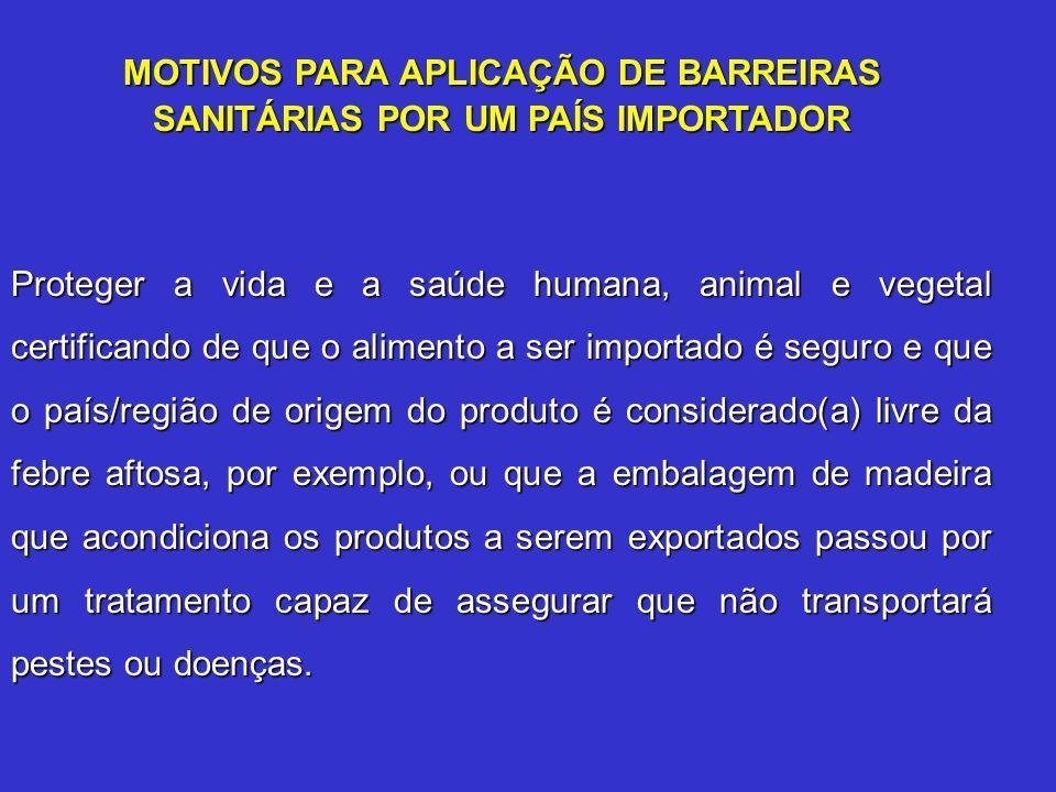 MOTIVOS PARA APLICAÇÃO DE BARREIRAS SANITÁRIAS POR UM PAÍS IMPORTADOR