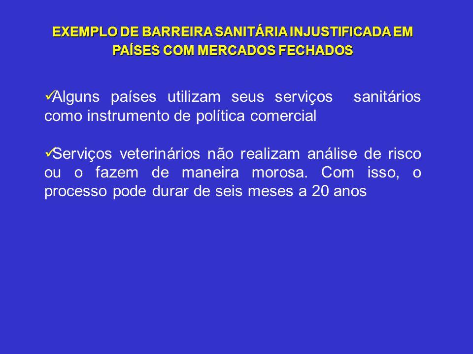 EXEMPLO DE BARREIRA SANITÁRIA INJUSTIFICADA EM PAÍSES COM MERCADOS FECHADOS
