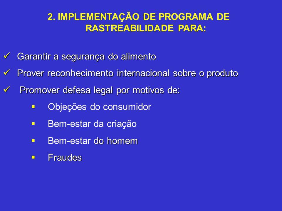2. IMPLEMENTAÇÃO DE PROGRAMA DE RASTREABILIDADE PARA: