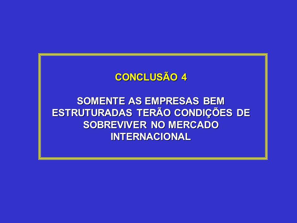 CONCLUSÃO 4 SOMENTE AS EMPRESAS BEM ESTRUTURADAS TERÃO CONDIÇÕES DE SOBREVIVER NO MERCADO INTERNACIONAL.