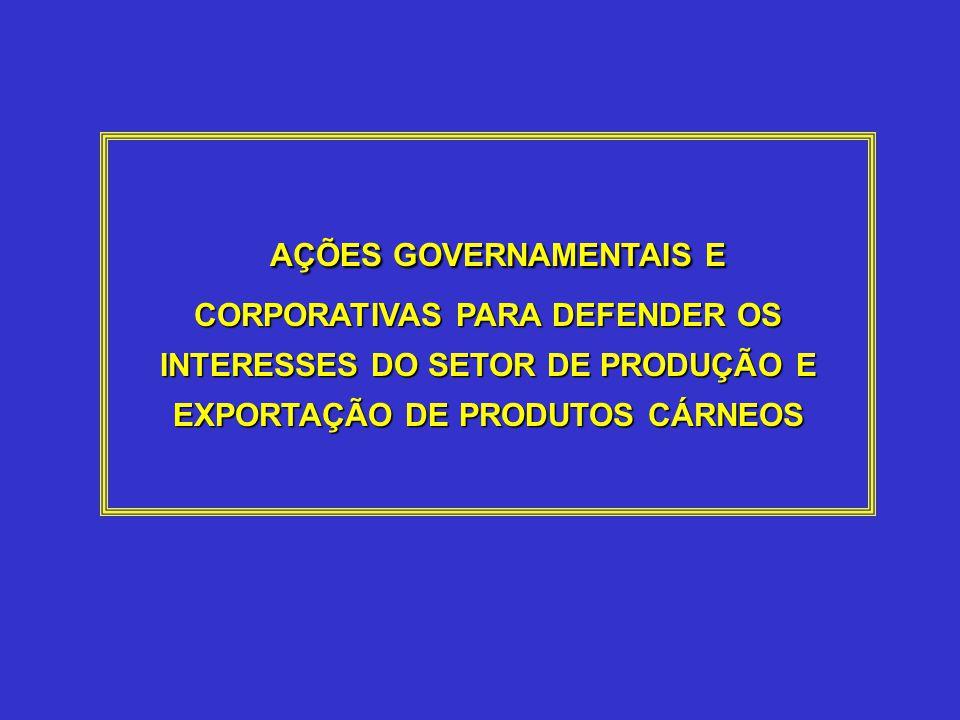 AÇÕES GOVERNAMENTAIS E CORPORATIVAS PARA DEFENDER OS INTERESSES DO SETOR DE PRODUÇÃO E EXPORTAÇÃO DE PRODUTOS CÁRNEOS