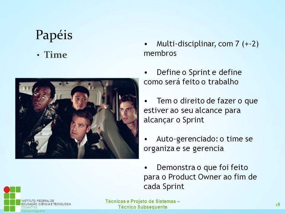 Papéis Time Multi-disciplinar, com 7 (+-2) membros