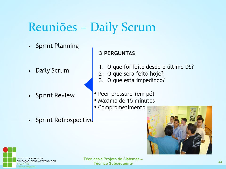 Reuniões – Daily Scrum Sprint Planning Daily Scrum Sprint Review