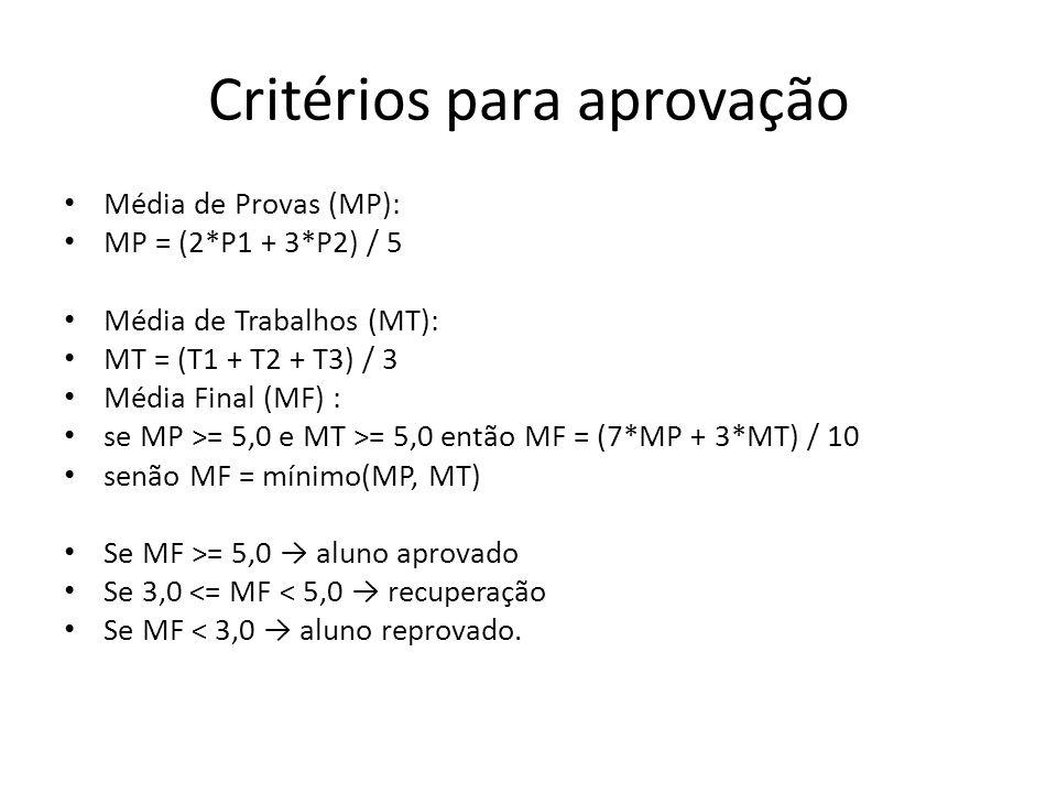 Critérios para aprovação