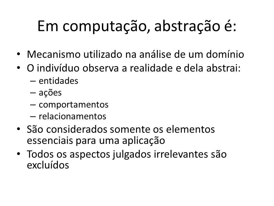 Em computação, abstração é: