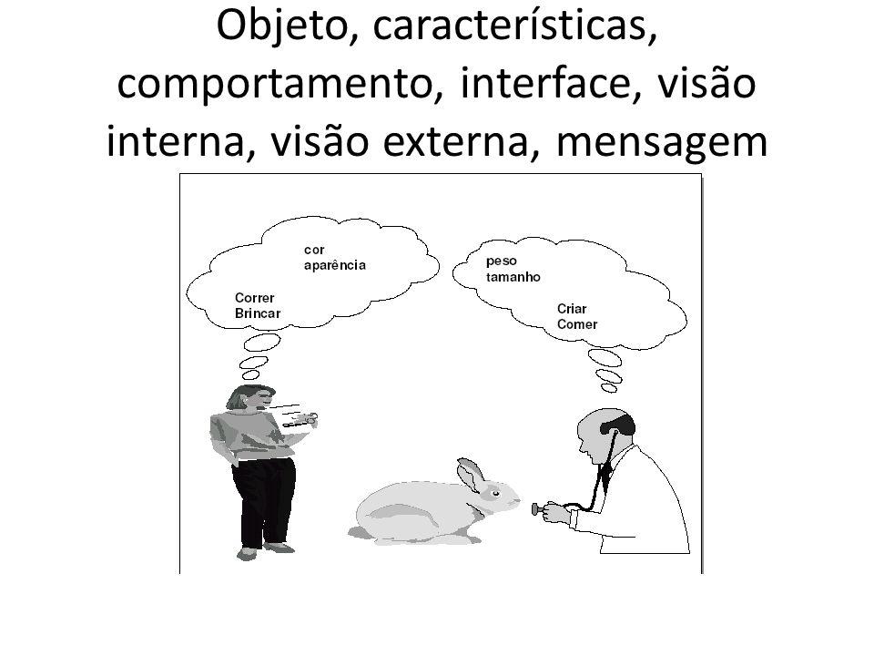 Objeto, características, comportamento, interface, visão interna, visão externa, mensagem