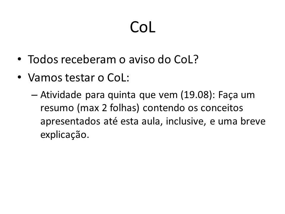 CoL Todos receberam o aviso do CoL Vamos testar o CoL: