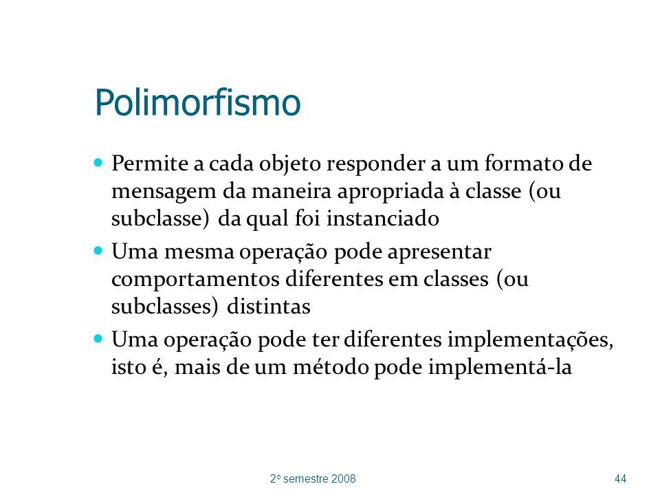 Polimorfismo Permite a cada objeto responder a um formato de mensagem da maneira apropriada à classe (ou subclasse) da qual foi instanciado.