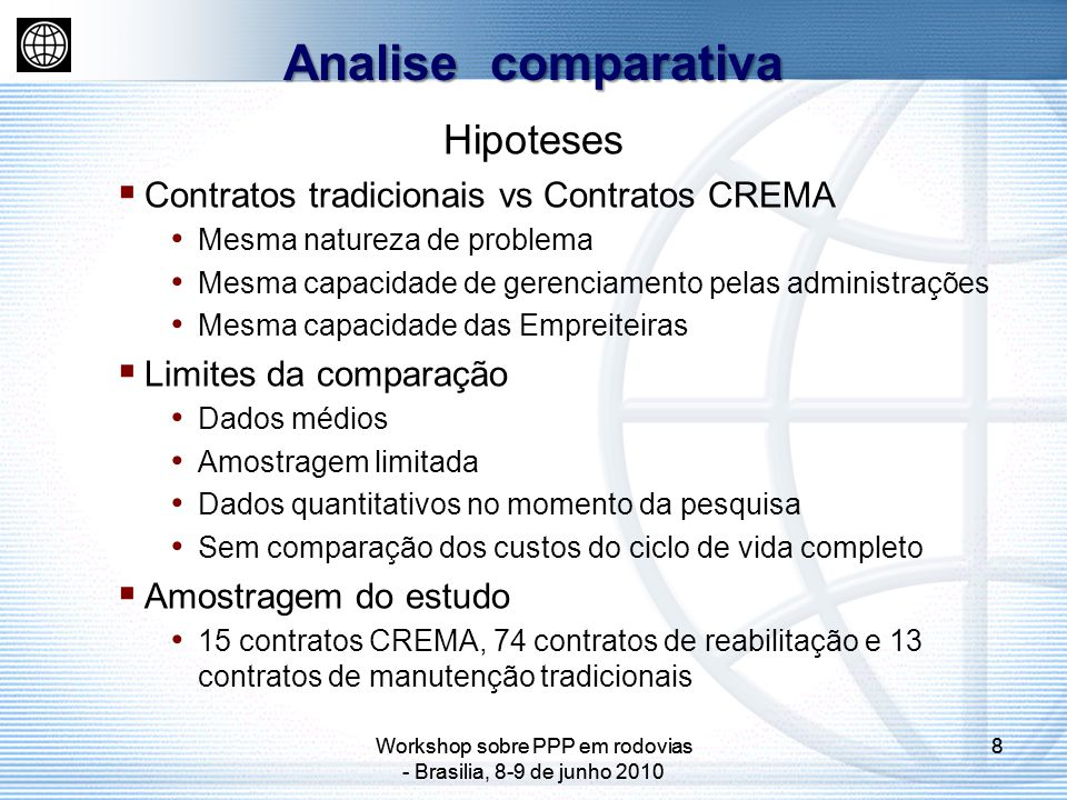 Analise comparativa Hipoteses