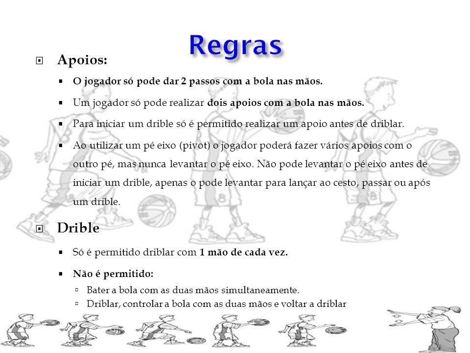 Regras Apoios: O jogador só pode dar 2 passos com a bola nas mãos. Um jogador só pode realizar dois apoios com a bola nas mãos.
