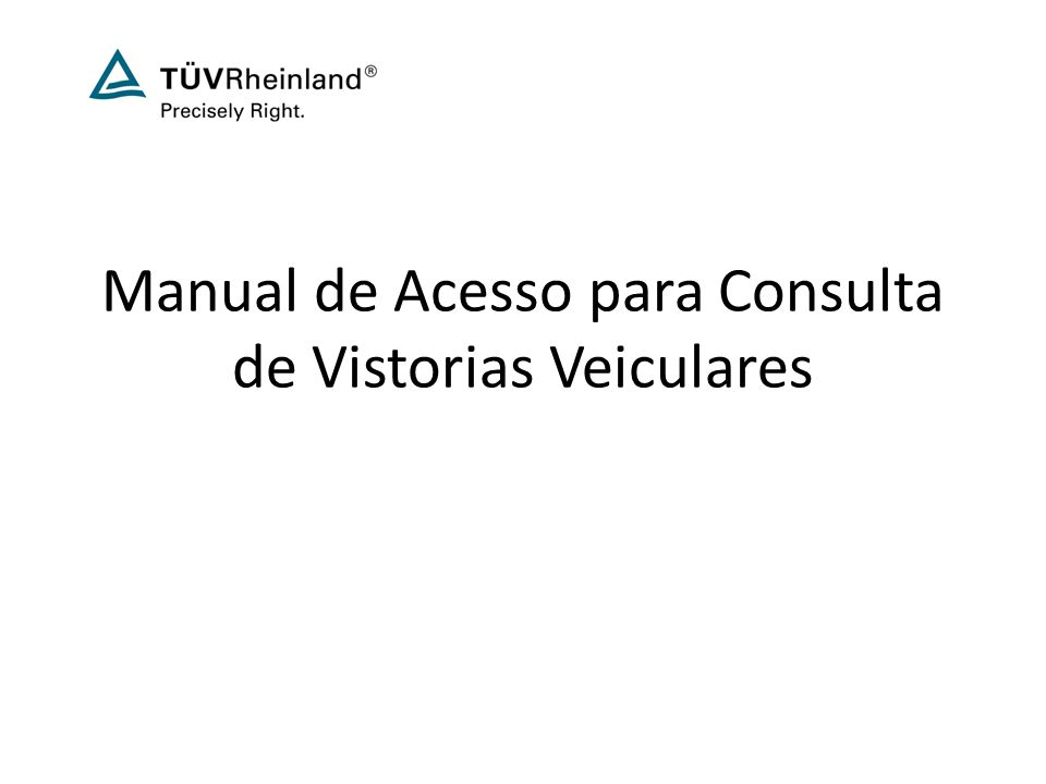 Manual de Acesso para Consulta de Vistorias Veiculares