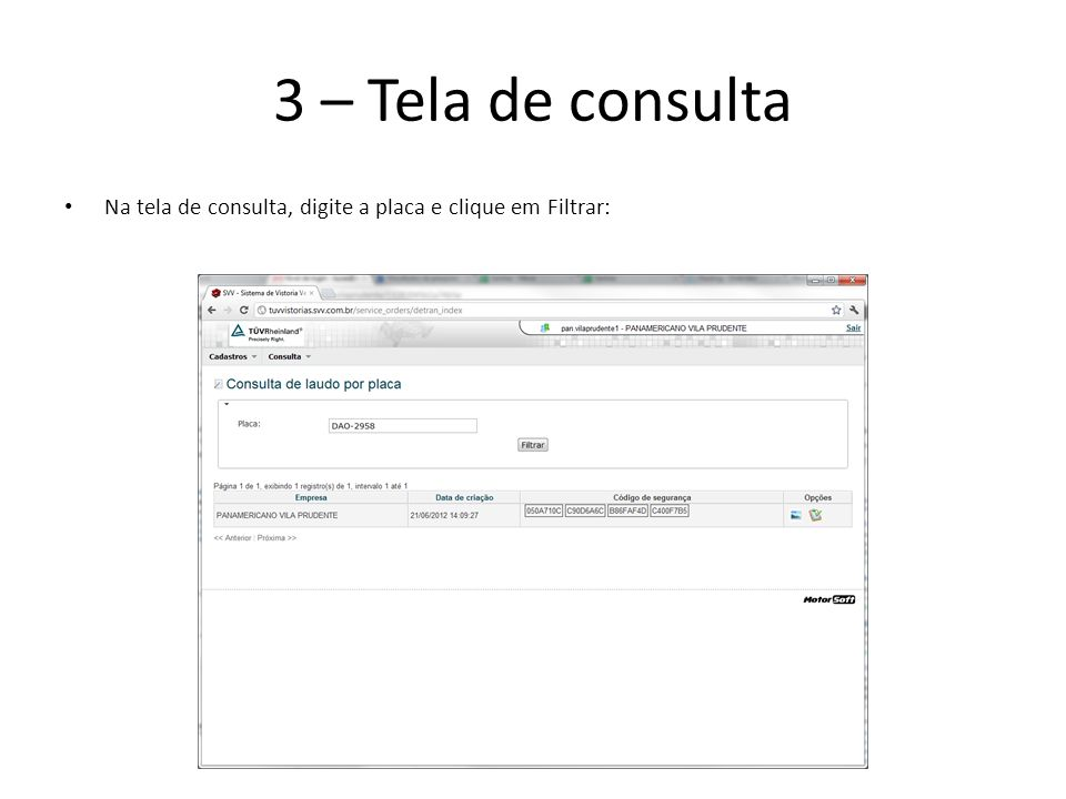 3 – Tela de consulta Na tela de consulta, digite a placa e clique em Filtrar: