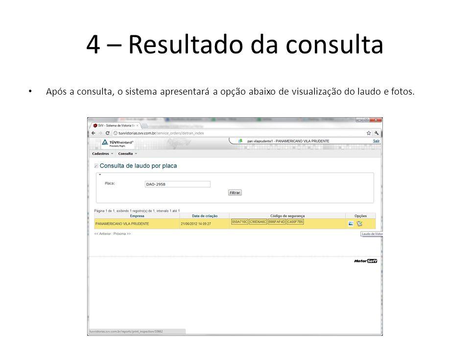 4 – Resultado da consulta