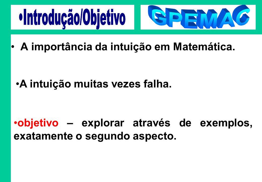 GPEMAC Introdução/Objetivo A importância da intuição em Matemática.