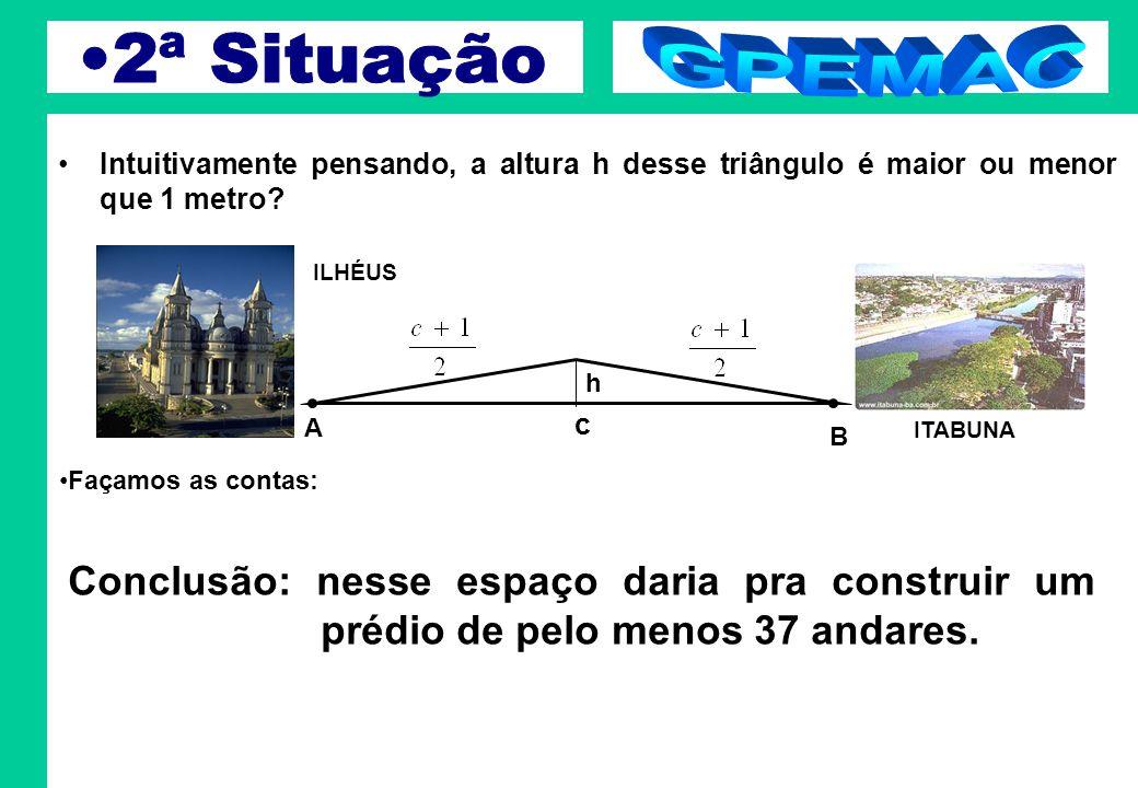 2ª Situação GPEMAC. Intuitivamente pensando, a altura h desse triângulo é maior ou menor que 1 metro
