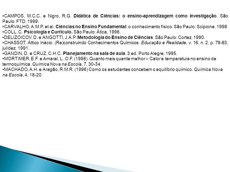 CAMPOS, M.C.C. e Nigro, R.G. Didática de Ciências: o ensino-aprendizagem como investigação. São Paulo: FTD, 1999.