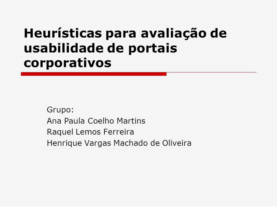 Heurísticas para avaliação de usabilidade de portais corporativos