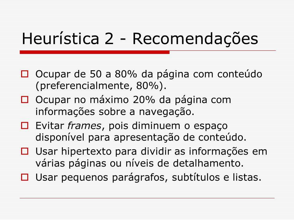 Heurística 2 - Recomendações