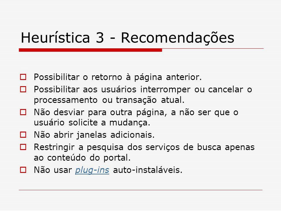 Heurística 3 - Recomendações