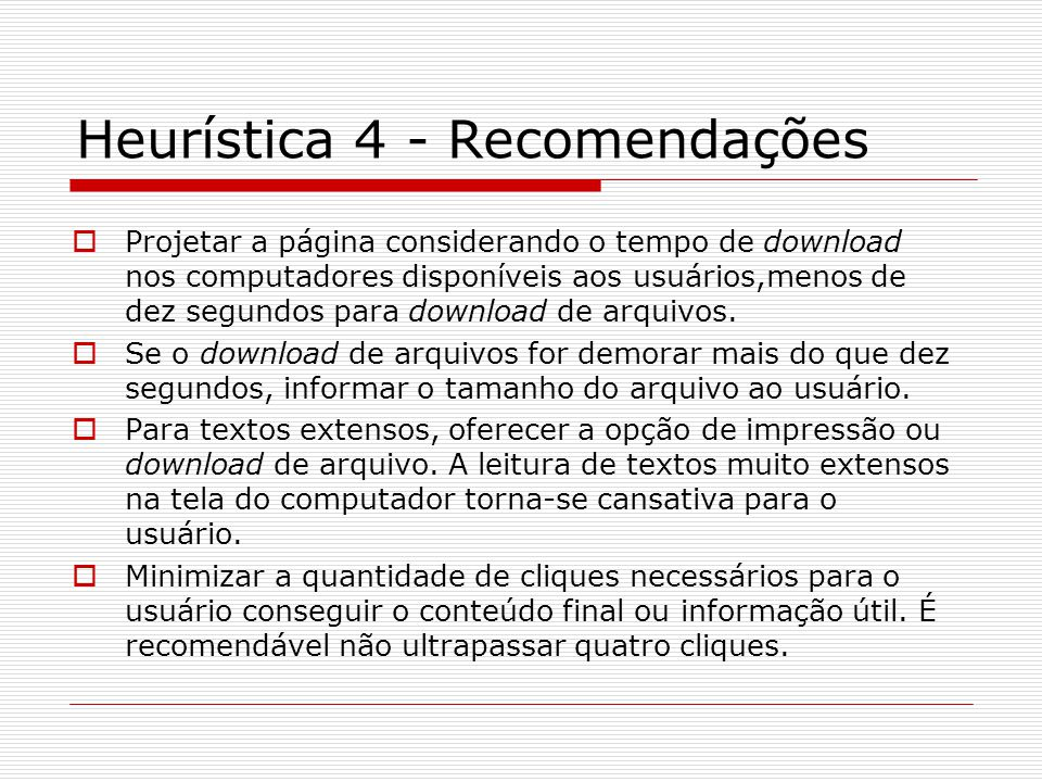 Heurística 4 - Recomendações