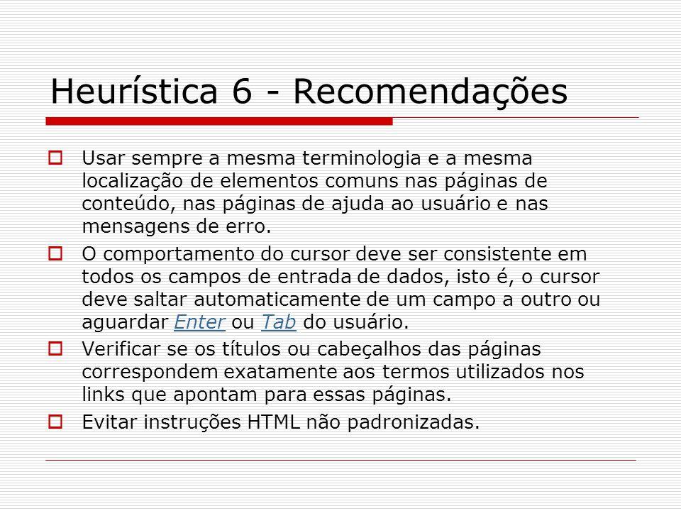 Heurística 6 - Recomendações