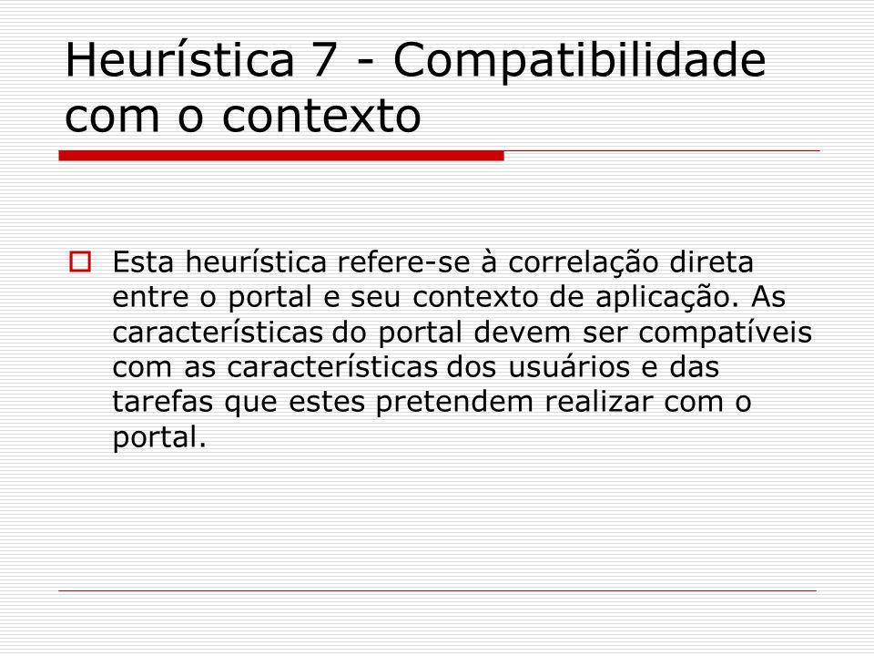 Heurística 7 - Compatibilidade com o contexto