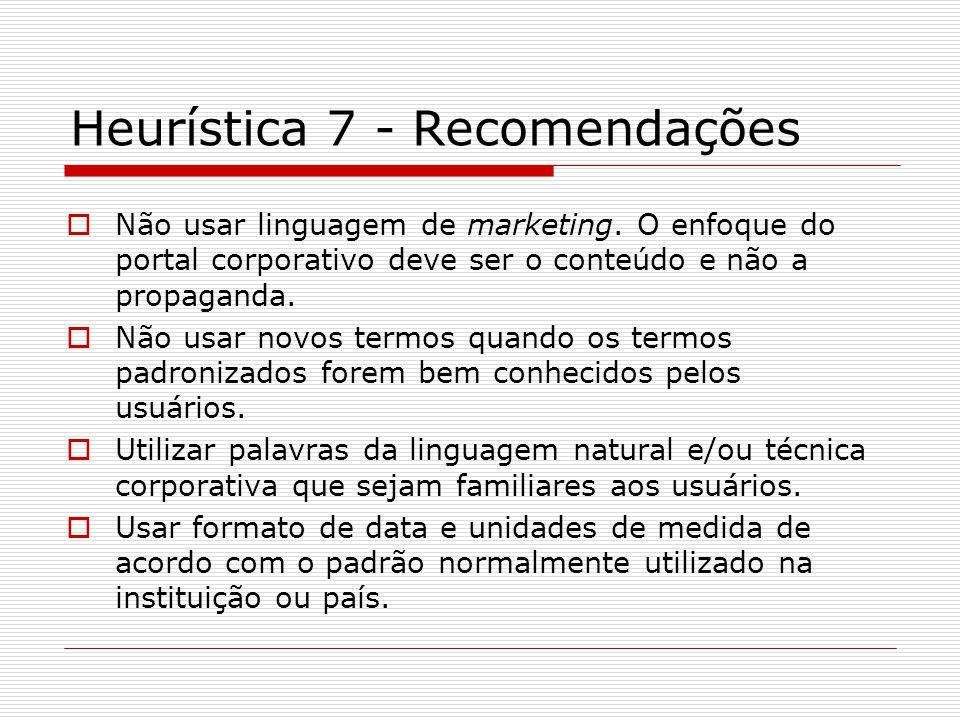 Heurística 7 - Recomendações