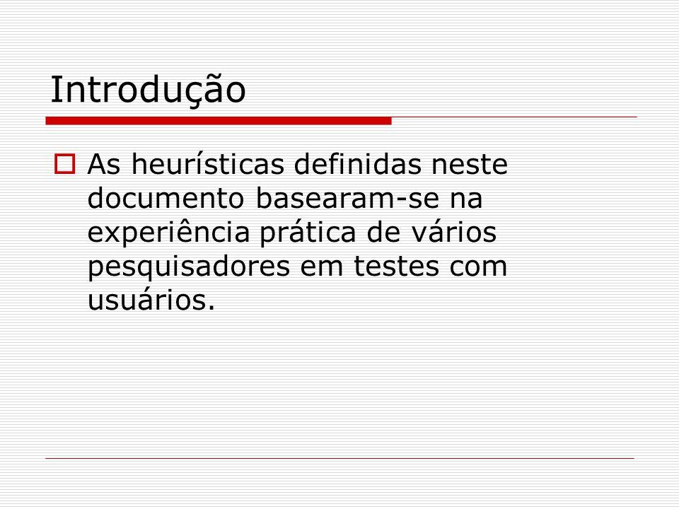 Introdução As heurísticas definidas neste documento basearam-se na experiência prática de vários pesquisadores em testes com usuários.