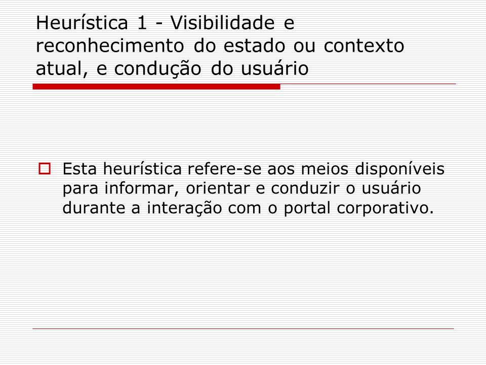 Heurística 1 - Visibilidade e reconhecimento do estado ou contexto atual, e condução do usuário