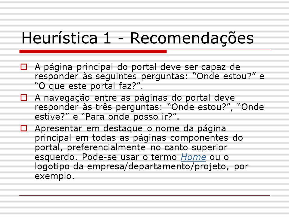 Heurística 1 - Recomendações