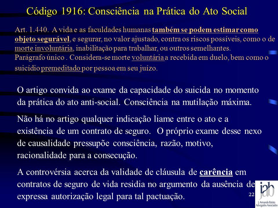 Código 1916: Consciência na Prática do Ato Social