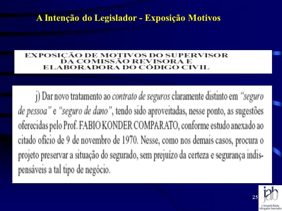 A Intenção do Legislador - Exposição Motivos