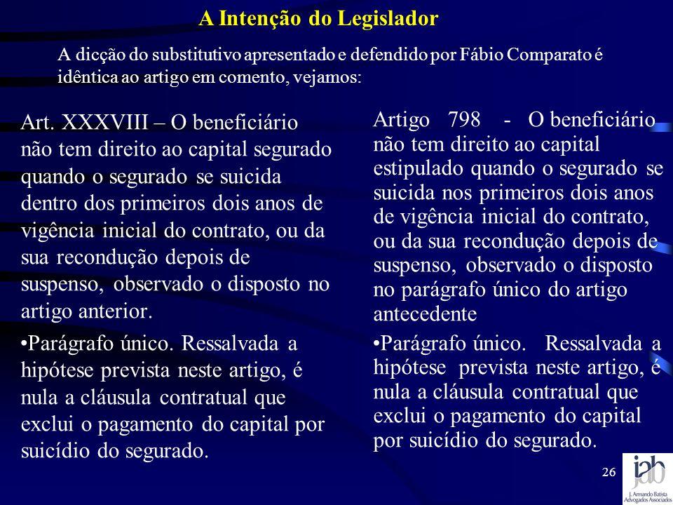 A Intenção do Legislador
