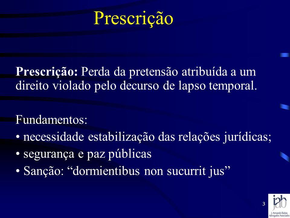 Prescrição Prescrição: Perda da pretensão atribuída a um direito violado pelo decurso de lapso temporal.