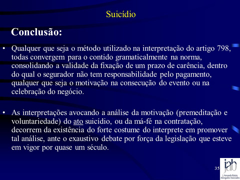 Suicídio Conclusão: