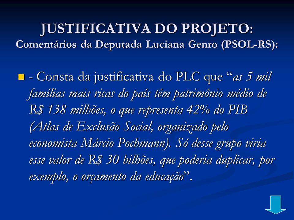 JUSTIFICATIVA DO PROJETO: Comentários da Deputada Luciana Genro (PSOL-RS):