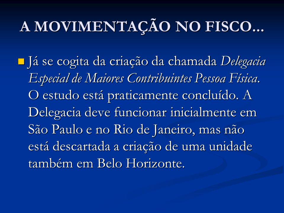 A MOVIMENTAÇÃO NO FISCO...