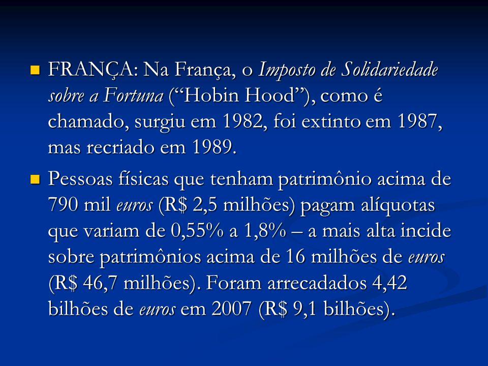 FRANÇA: Na França, o Imposto de Solidariedade sobre a Fortuna ( Hobin Hood ), como é chamado, surgiu em 1982, foi extinto em 1987, mas recriado em 1989.