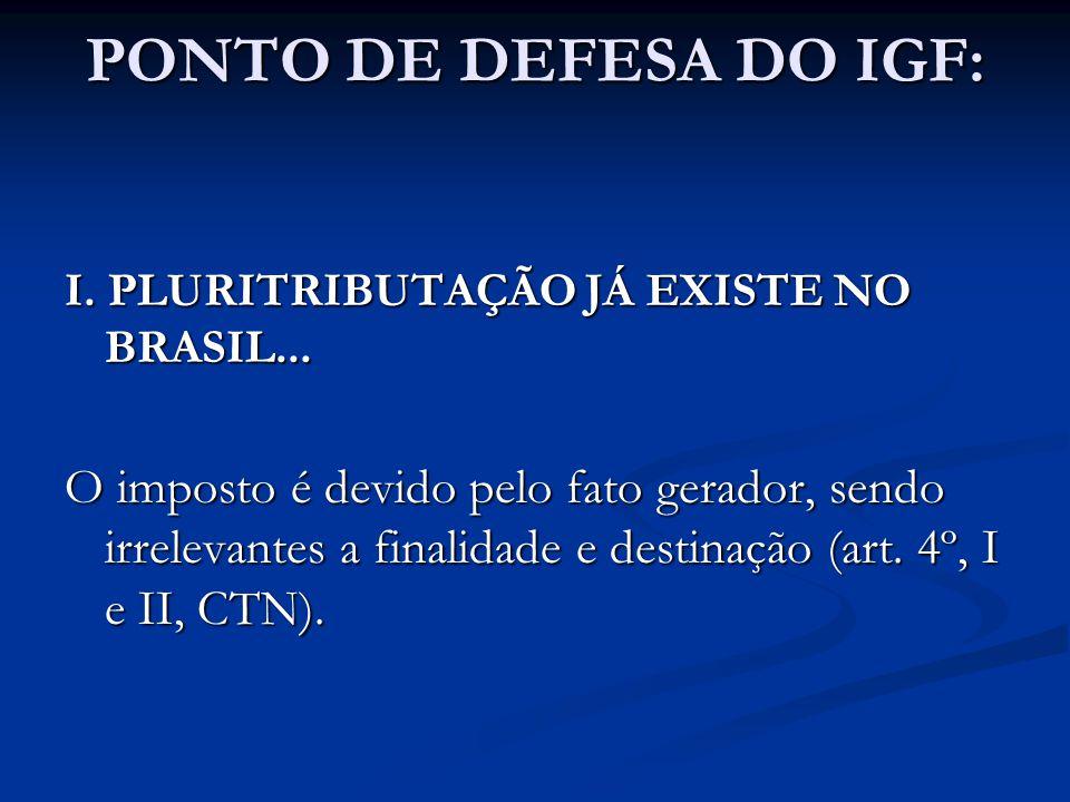 PONTO DE DEFESA DO IGF: I. PLURITRIBUTAÇÃO JÁ EXISTE NO BRASIL...