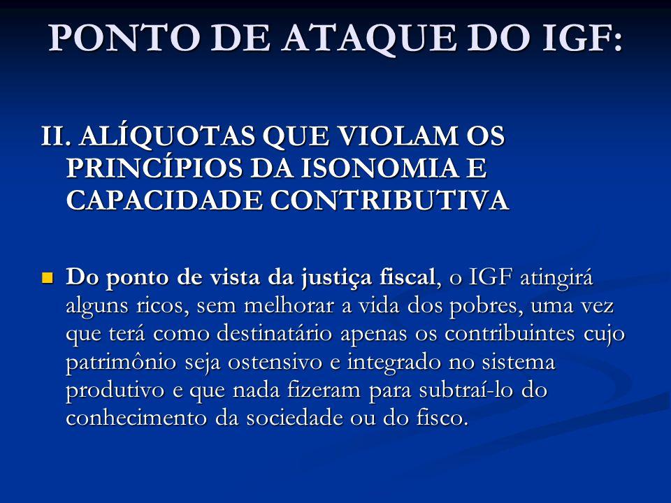PONTO DE ATAQUE DO IGF: II. ALÍQUOTAS QUE VIOLAM OS PRINCÍPIOS DA ISONOMIA E CAPACIDADE CONTRIBUTIVA.