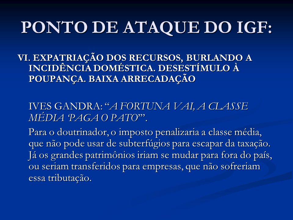 PONTO DE ATAQUE DO IGF: VI. EXPATRIAÇÃO DOS RECURSOS, BURLANDO A INCIDÊNCIA DOMÉSTICA. DESESTÍMULO À POUPANÇA. BAIXA ARRECADAÇÃO.