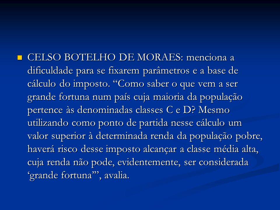 CELSO BOTELHO DE MORAES: menciona a dificuldade para se fixarem parâmetros e a base de cálculo do imposto.
