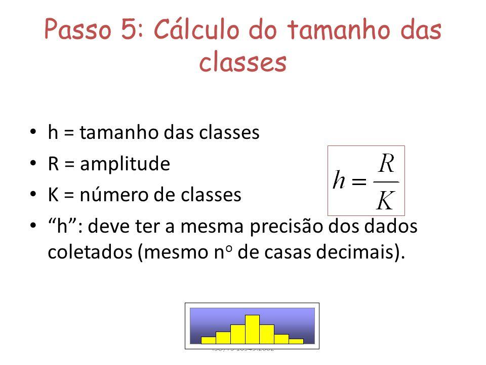 Passo 5: Cálculo do tamanho das classes