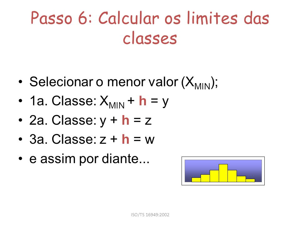 Passo 6: Calcular os limites das classes