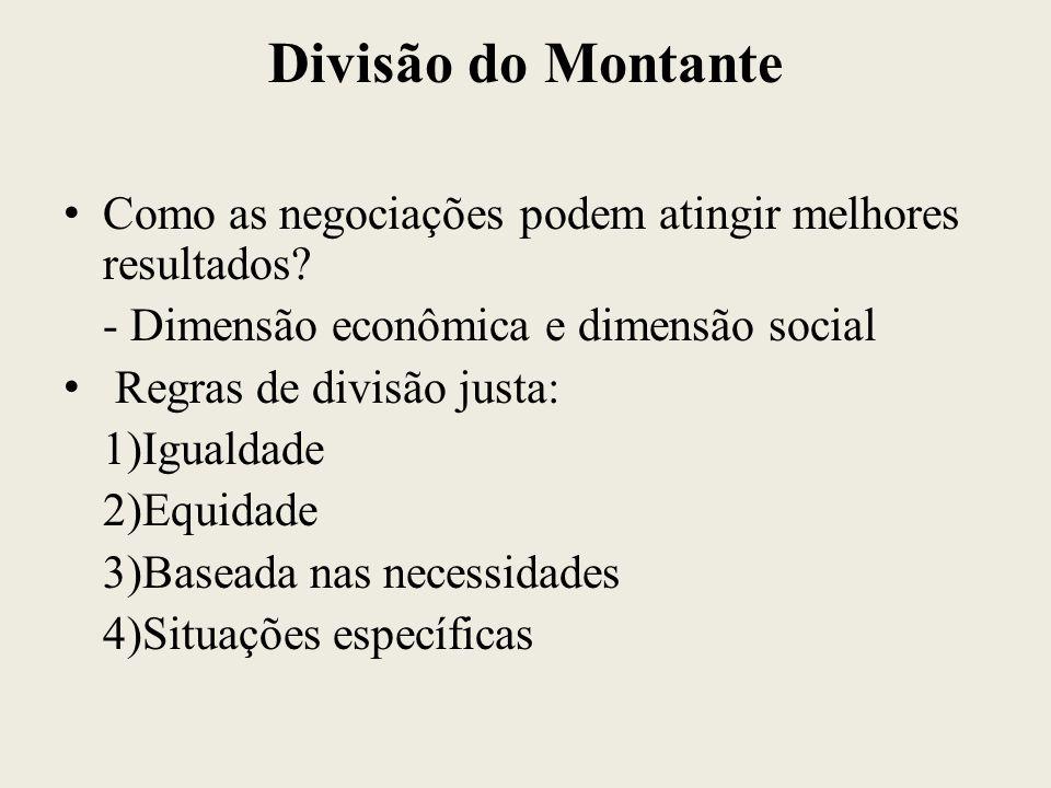 Divisão do Montante Como as negociações podem atingir melhores resultados - Dimensão econômica e dimensão social.