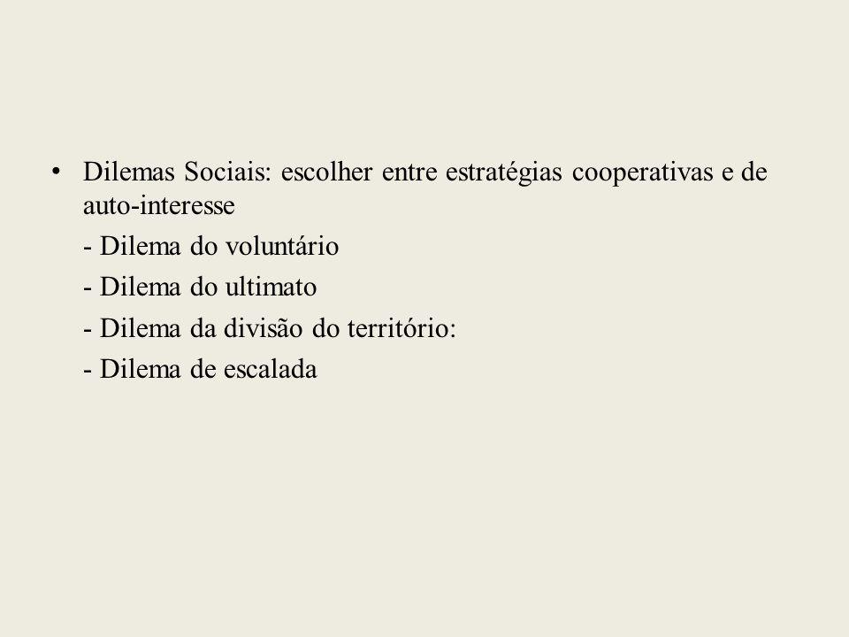 Dilemas Sociais: escolher entre estratégias cooperativas e de auto-interesse