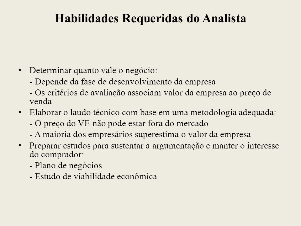 Habilidades Requeridas do Analista