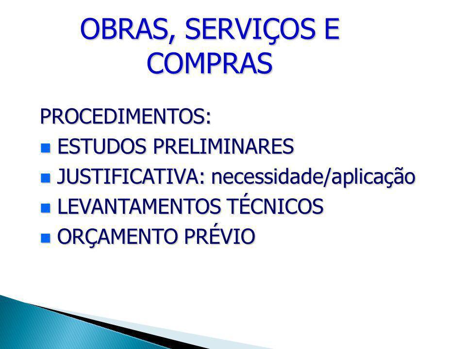 OBRAS, SERVIÇOS E COMPRAS